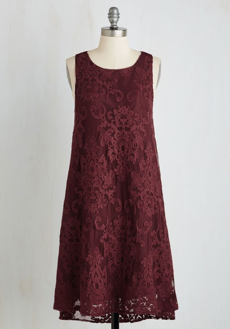 Swingy and Sweet Dress by BB Dakota - Red, Solid, Party, Shift, Sleeveless, Woven, Lace, Better, Mid-length