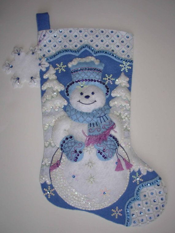 Finished Christmas Stocking  Snowflake Snowman by JoysofChristmas, $95.00