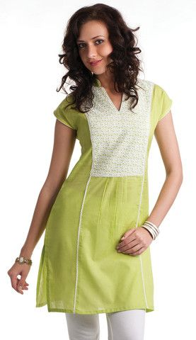 Placement Embroidered Lime Cotton Kurti | Naari
