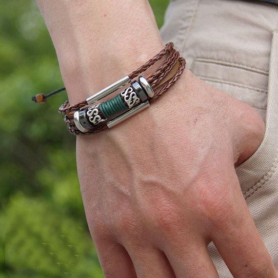 Surfer Brown Leather Cuff Bracelet Adjustable Mens B385 by mooli, $7.99