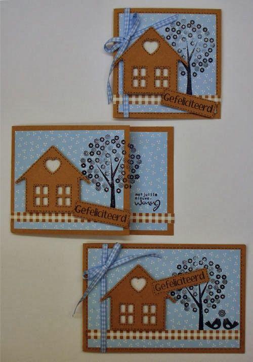Mooie kleurencombinatie: lichtblauw en kraft. Het huisje is gemaakt met een stans. De boom is gestempeld. In die stempel-set zitten nog meer leuke stempels! O.a. eentje met de vogeltjes van de onderste kaart.
