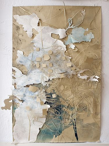 "Val Britton - our ongoing excavation. 2006; Ink, pencil, collage and cut-out on paper; 34"" x 43"""