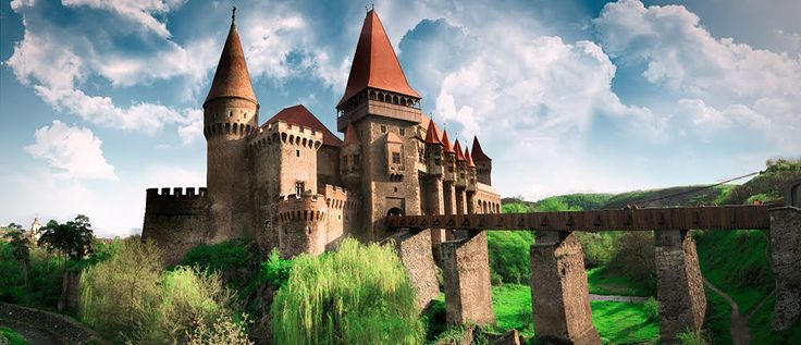 Corvinilor Castle - Hunedoara, ROMANIA. It represents one of the most important buildings with Gothic-inspired architecture in Romania. Huffington Post ranks Corvin Castle on 2nd place among the most frightening buildings in the world.