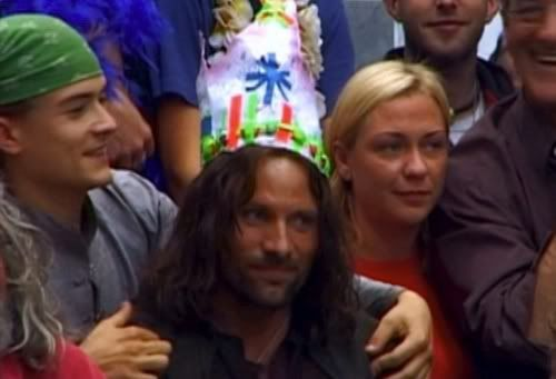 Viggo Mortenson celebrates a birthday on the set of the Lord of the Rings. (Where has this pic been all my life?)