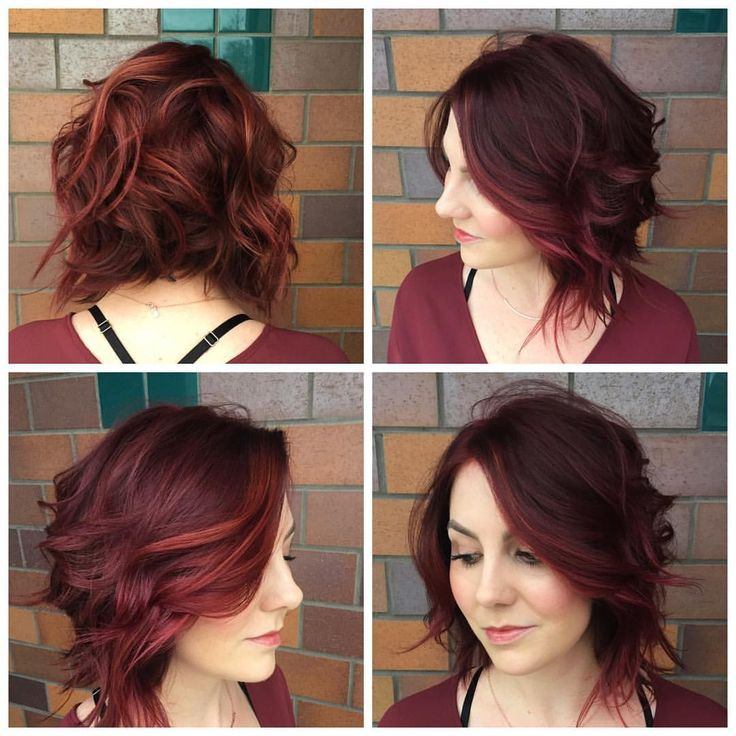 Dark red wavy a line bob haircut