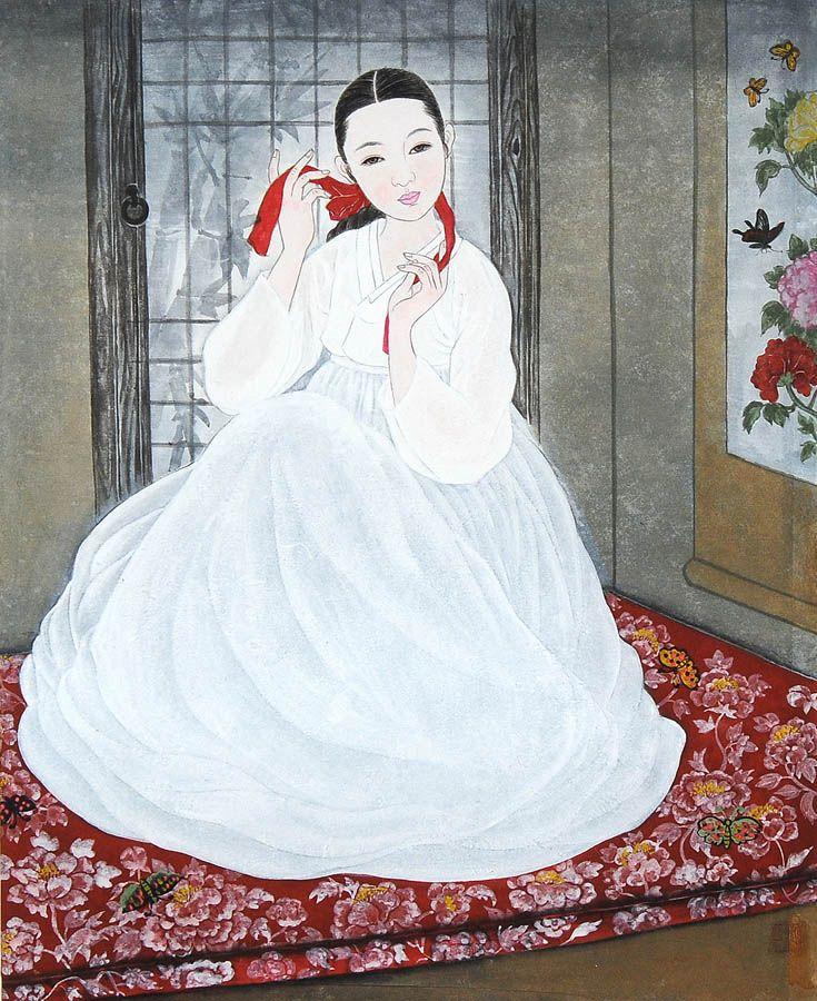 Korean elegance woman by Bak Yeun-ok   박연옥,  미인도(美人圖)