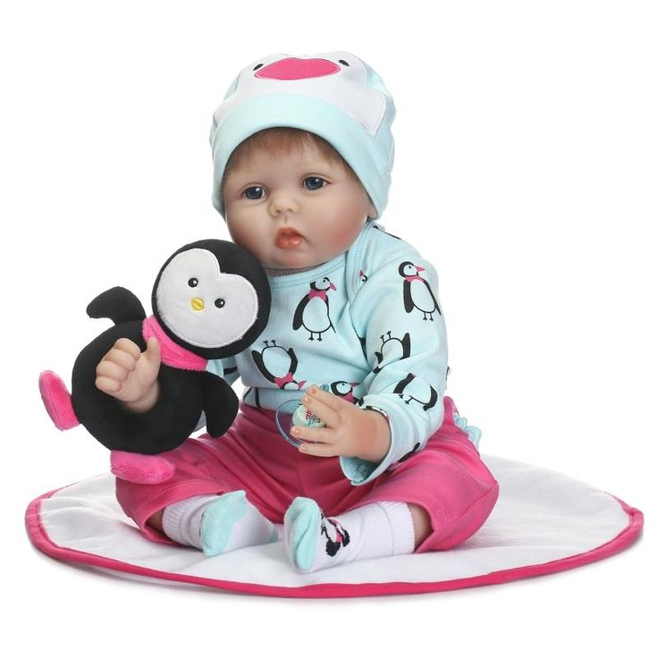 """(82.89$)  Watch here - http://aingw.worlditems.win/all/product.php?id=32801085825 - """"Reborn dolls 22"""""""" soft silicone reborn babies for children gift penguin clothing bebe girl reborn bonecas"""""""