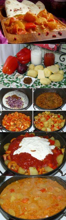 Индийская кухня: Дам алу кашмири - вегетарианский вариант карри из сладкого перца и картофеля.