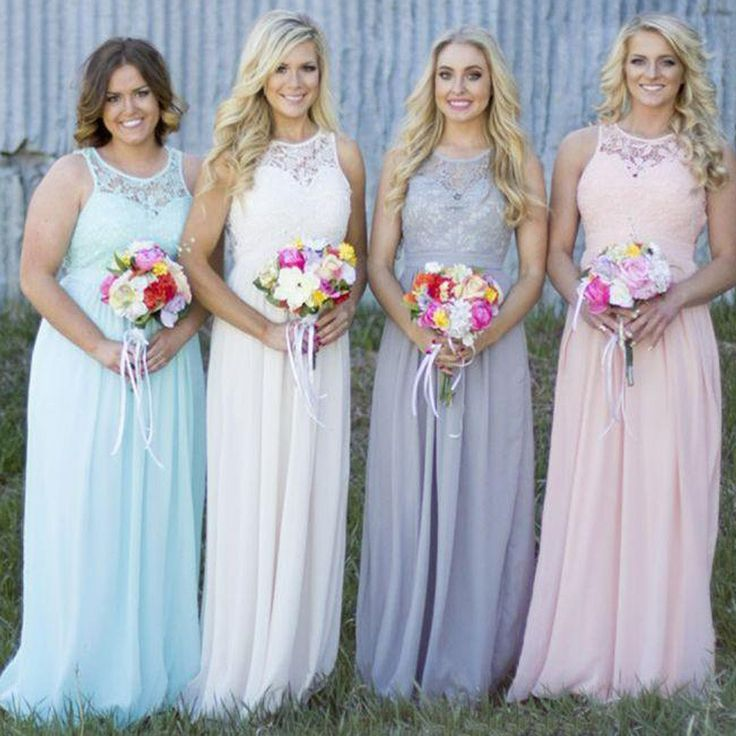 Off Shoulder Small Round Neck Top Lace Different Colors Chiffon Floor-Length Cheap Maxi Bridesmaid Dresses, WG110 The long bridesmaid dresses are fully lined, 4 bones in the bodice, chest pad in the b