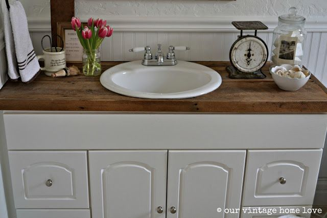 love the ivory soap canister and the barber shop prices (our vintage home love: Farmhouse Bathroom)