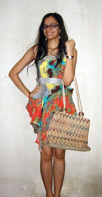 Orange Beach Dress, Jute Bag | Chiconomical