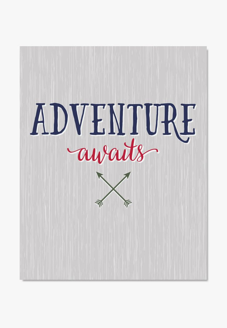 Adventure Awaits quote in a rustic style looks great in nautical and pirate themed rooms. Perfect gift for travelers or anyone on a new adventure. Also available - Canvas Print: Adventure Awaits - Arc