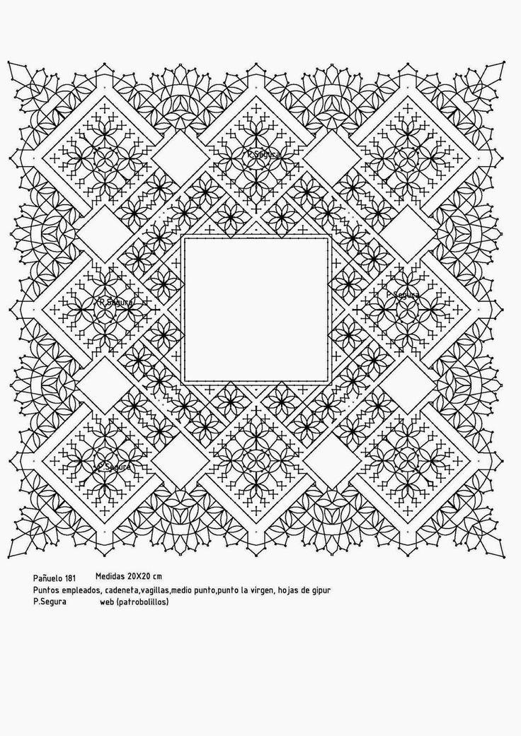 Perfecto Crochet Patrón De Pañuelo De Encaje Molde - Manta de Tejer ...