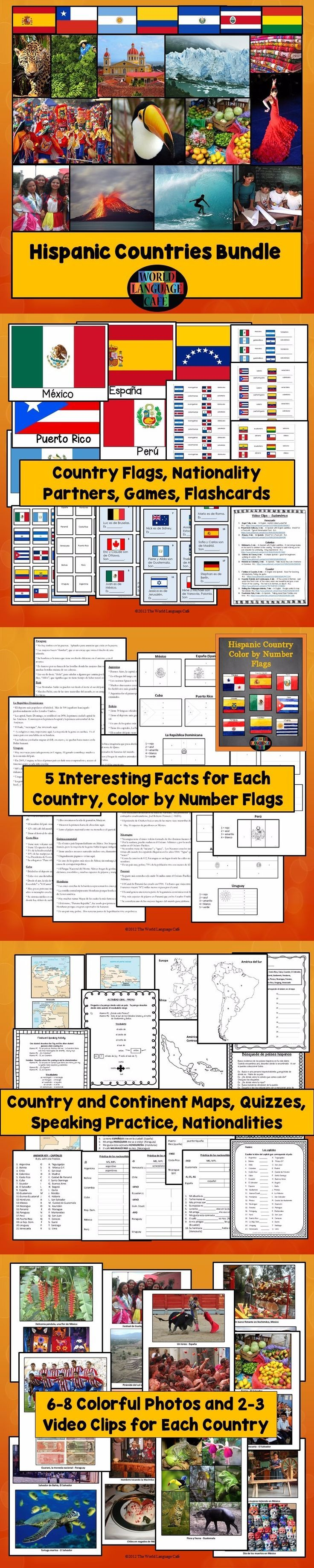 Do you struggle to make Spanish speaking countries culture come alive? Want to bring your students on virtual field trips to all 21 Hispanic countries without ever leaving claa? Want to convince even your most reluctant learners to speak Spanish so they can visit all these beautiful Hispanic countries? A whole year of Hispanic culture: video links, colorful photos, interesting facts, nationality practice, flags, map quizzes, and more.