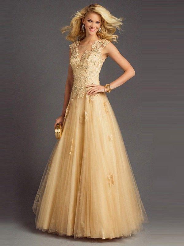 A-Line/Princess Scoop Sleeveless Tulle Applique Floor-Length Dresses