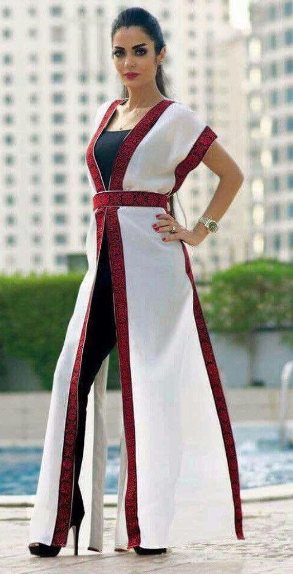 Modern Thobe Hot Offer Palestinian Dress Abaya 2018 Embroidered Motarraz ثوب فلسطيني مطرز Kimono Fashion Latest African Fashion Dresses Ankara Dress Designs