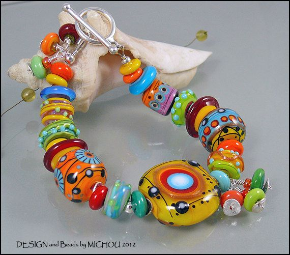 sunshine delight lampwork glass bead bracelet by