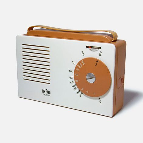 The Braun Exporter transistor radio, c. 1956, is considered to be one of the first contributions of the functionalist Ulm Design School (HfG Ulm)