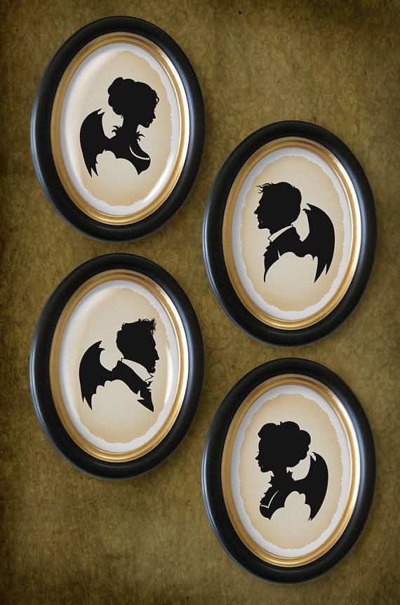 I'd be seriously tempted to keep these awesome Halloween silhouettes out all year. #Halloween #art #vintage #silhouettes #decor #decorations