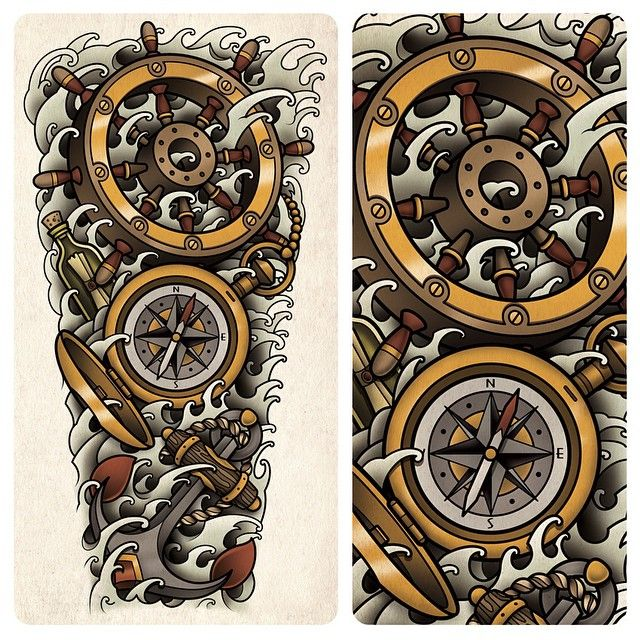 54 best tattoos images on pinterest for Anchor and wheel tattoo
