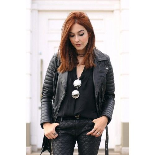 Black Quilted Biker With Faux Fur Collar Leather Jacket - Marion | by VIPARO