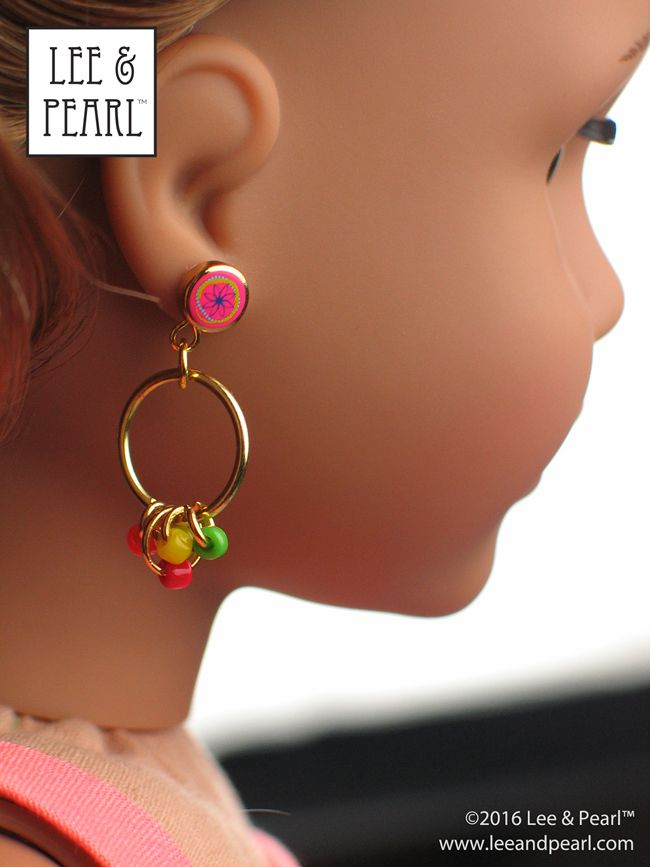 "Make your own easy doll jewelry, like these hoop earrings! Introducing Lee & Pearl's 2016 FREE Pattern for mailing list subscribers —#1035: Olá Brasil! Samba Top, Bahia Dress, Baiana Headwrap and Jewelry Tutorials for 18"" Dolls, inspired by American Girl® 2016 Girl of the Year® Lea Clark®, and by the fashions, traditions and music of Brazil. To get your FREE copy, join our mailing list at http://www.leeandpearl.com before the end of January, 2017."