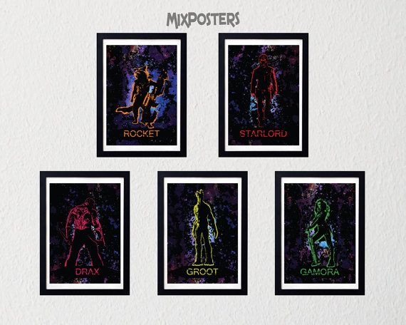 LIMITED  GUARDIANS Of The GALAXY inspired Pack of 5 от MixPosters