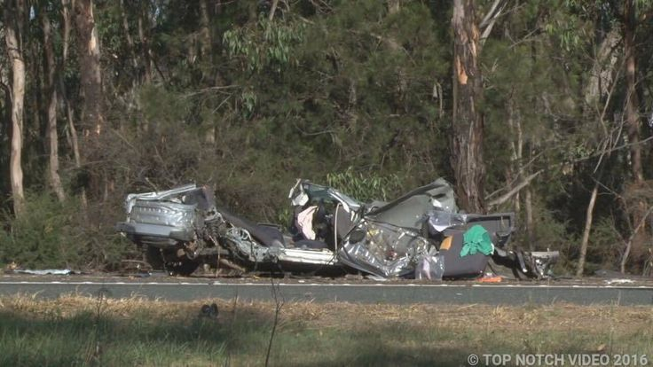 The scene of Monday morning's accident on the Hume Motorway at Pheasants Nest. The single-vehicle crash happened about 5km south of Picton Road. Picture: Top Notch Video