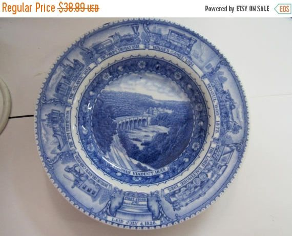 """Baltimore And Ohio Railroad Vintage Blue & White China 8 1/2"""" Dinner Plate Circa 1930's by NewBernEmporium on Etsy"""
