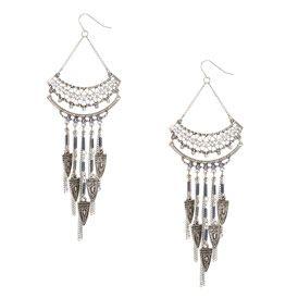 Boucles d'oreilles médaillon tribal argenté