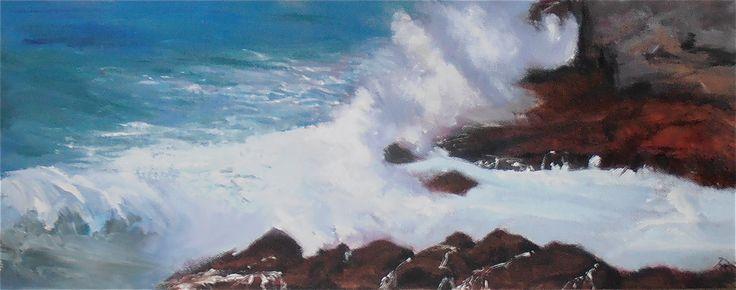 Waves Breaking Tintagel, Oil on canvas.