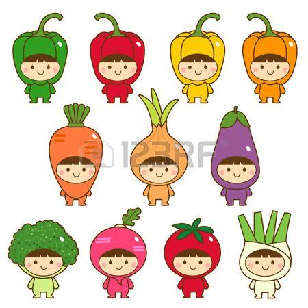 Set of kids in cute vegetables costumes Stock Vector