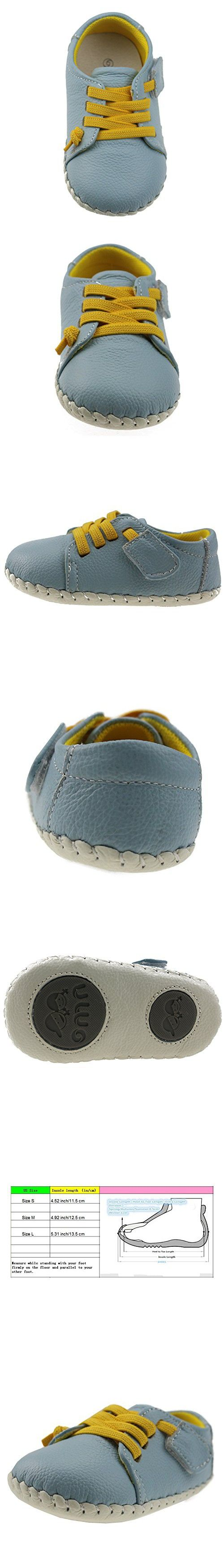 Orgrimmar Baby Boys Girls First Walkers Soft Sole Leather Baby Shoes (Size S, Light Blue)