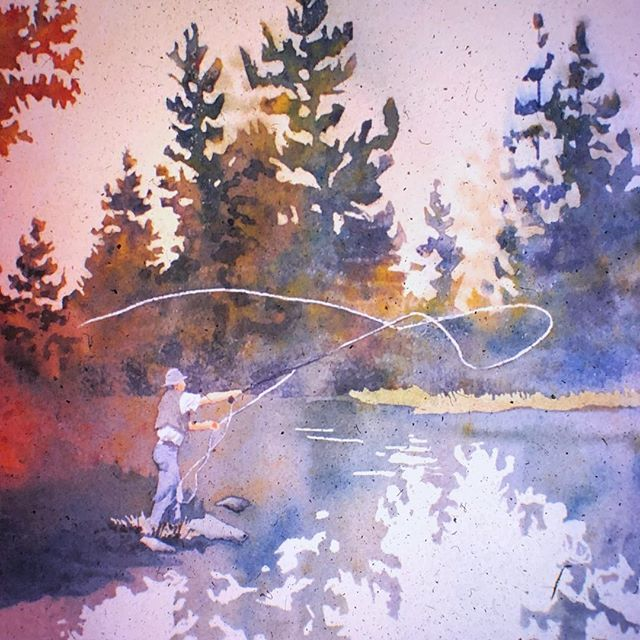 Fly Fishing Fly Fishing Fish Art Watercolor Paintings