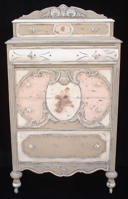 Tan and pink cabinet-top dresser with splashboard; 1930s; a whole page of well-painted 20's-40's ornate furniture