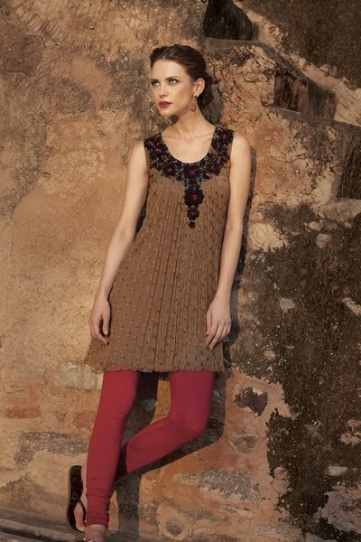 Georgette kurti with resham and crystal work. Priced at $119.