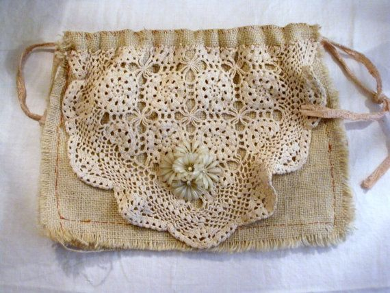 Burlap Drawstring Pouch Purse, Vintage Crochet Jewlery, Prairie Style Cottage, All Handsewn