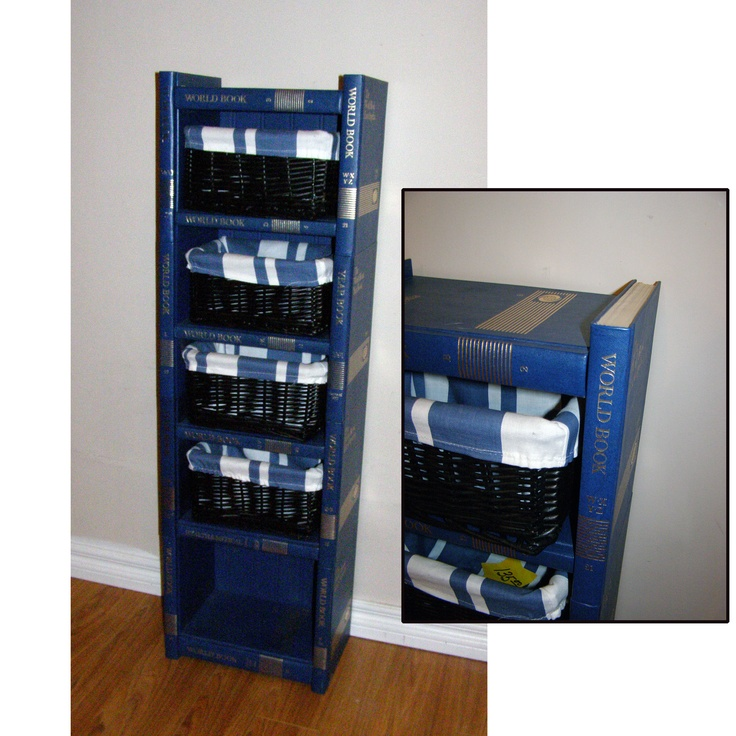 Bookcase made out of old encyclopedias,because we all have a set and they cost us an arm & a leg ;)