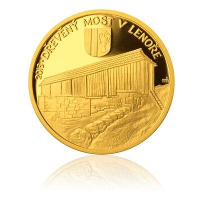 Zlatá mince 5000 Kč 2013 Dřevěný most v Lenoře proof   Česká mincovna
