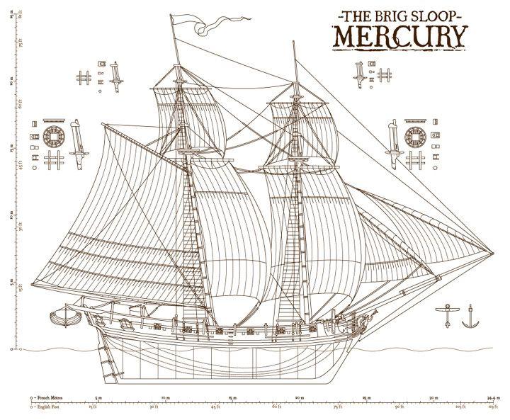 Brig-sloop Mercury, like Jean Donet's ship | To Tame the Wind by Regan Walker in 2019 | Ship ...