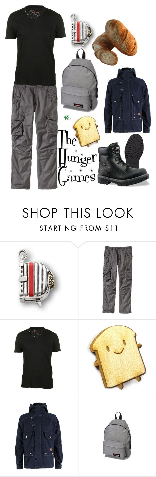 """The Hunger Games"" by wearwhatyouwatch ❤ liked on Polyvore featuring FOSSIL, Old Navy, BOSS Orange, Asking For Trouble, mel, Eastpak, combat boots, menswear inspired and the hunger games"