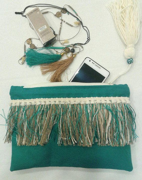 Check out this item in my Etsy shop https://www.etsy.com/listing/522817353/petrol-boho-chic-clutch-with-long-fringe