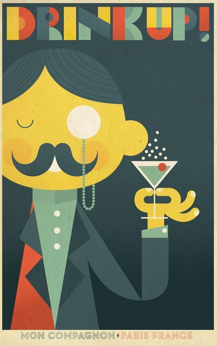 """Poster created for fictitious alcoholic beverage Mon Compagnon, roughly translated """"my companion."""" Styled after the work of European poster artists of the 20s and 30s."""