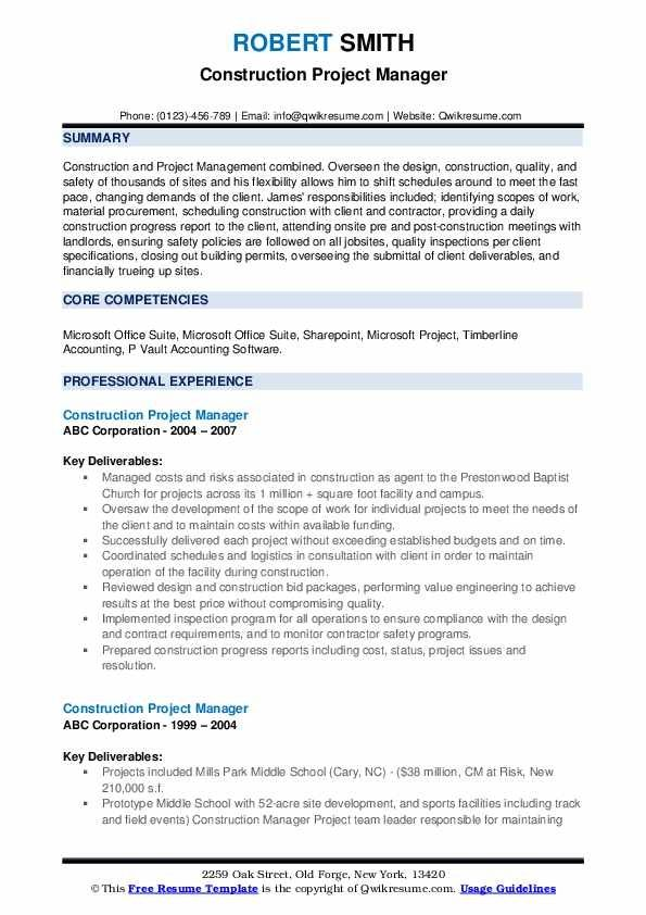 Construction Project Manager Resume Samples Qwikresume Project Manager Resume Resume Template Manager Resume