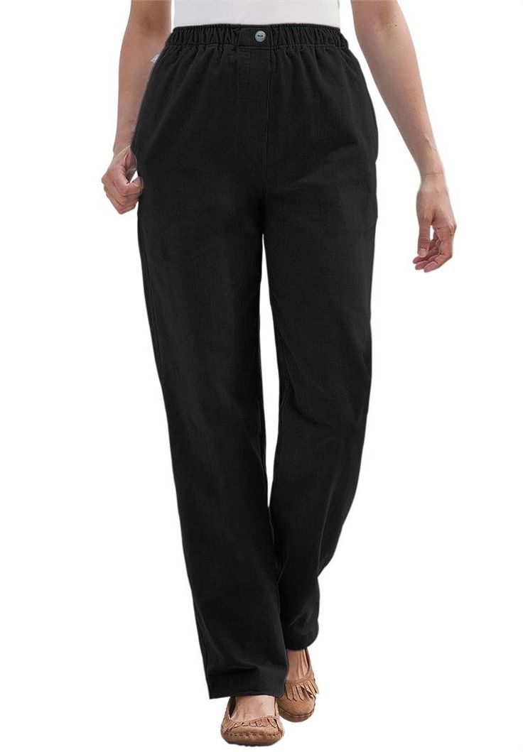 """Women's Plus Size Petite Pants In Corduroy With Comfortable Waist Black,28 Wp. straight silhouette go great with all shoes and never bind, cling or restrict. 28"""" inseam fits women 4'11""""-5'3.5"""". pants sit slightly above the waistoffering comfortable coverage. full elastic waist with button mock fly moves with you. 2 handy pockets."""