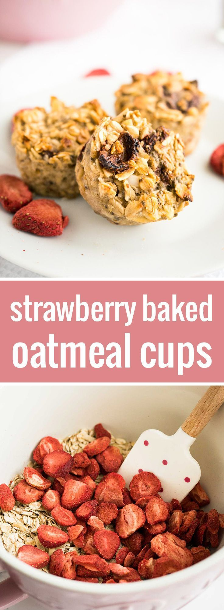 These Strawberry Baked Oatmeal Cups are perfect for busy mornings! A healthy grab-and-go breakfast filled with oats, strawberries, and chia.