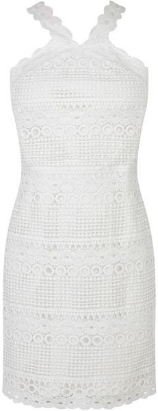 KAREN MILLEN England White Lace Stripe Dress - Lyst