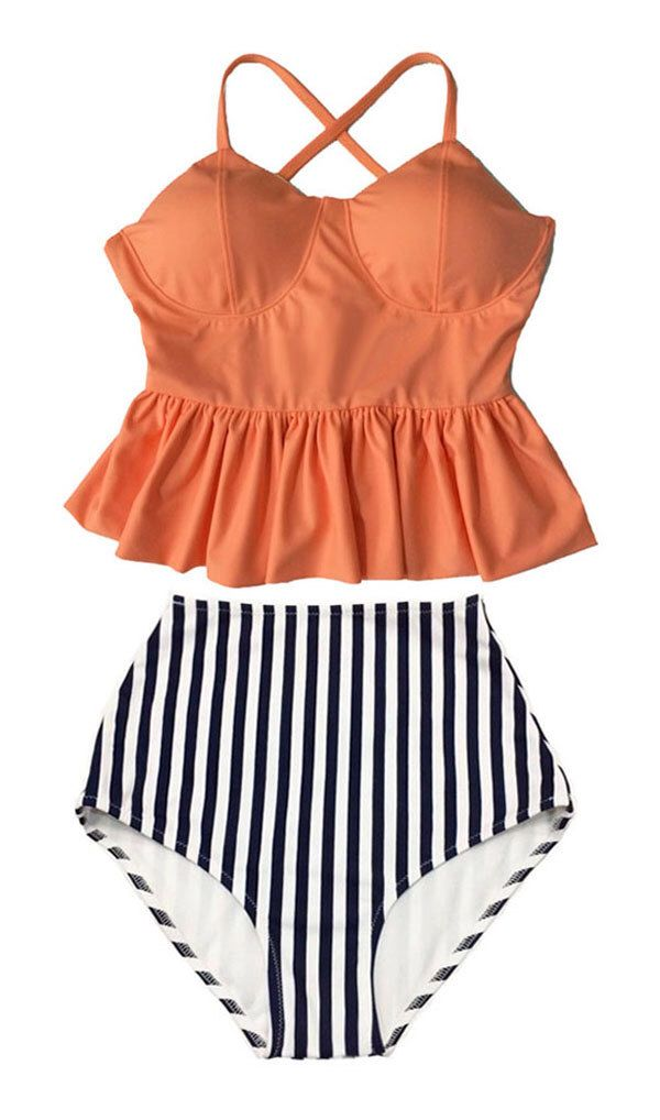 Old Rose Long Peplum Hem Top and Stripes High waisted waist Bottom Bikini set Swimsuit Swimwear Beach Swim wear Bathing suit dress S M L XL by venderstore on Etsy https://www.etsy.com/listing/229474732/old-rose-long-peplum-hem-top-and-stripes