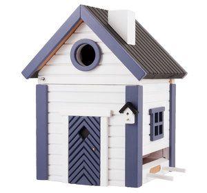 Multiholk White and Blue Cottage nesting box and bird feeder.. #birdnests #nistkästen #fågelholkar