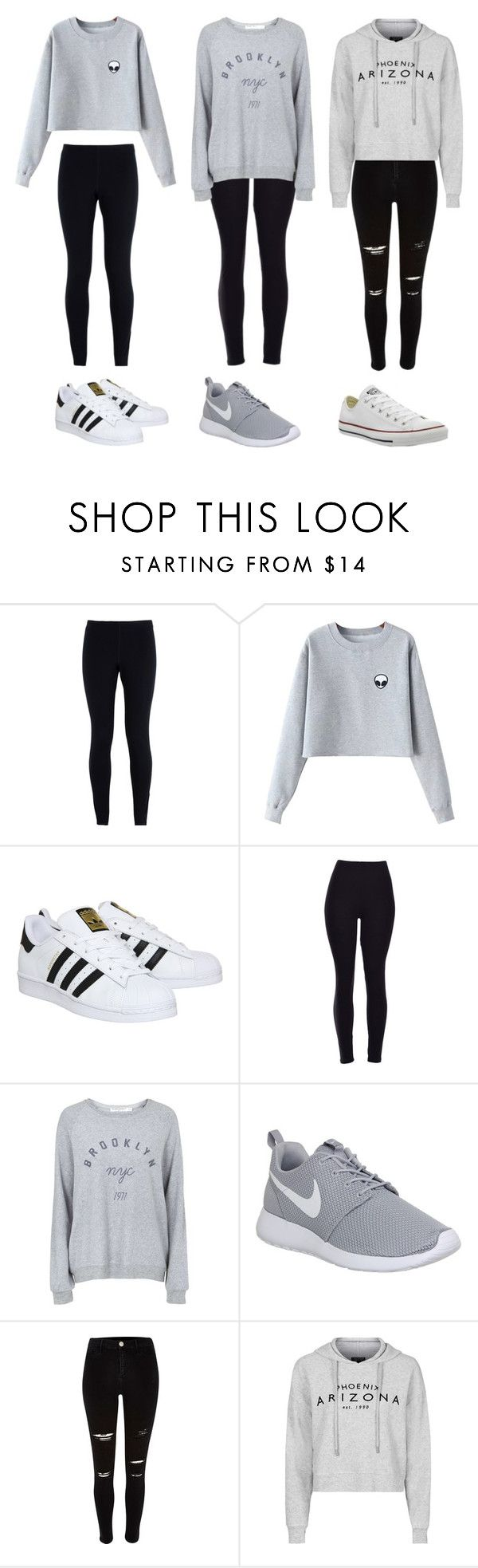 """""""3 cute outfits"""" by olivia-clarkk ❤ liked on Polyvore featuring NIKE, Chicnova Fashion, adidas, Topshop, River Island and Converse"""